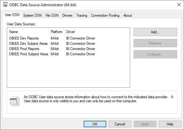 ODBC Administrator 64 bit console