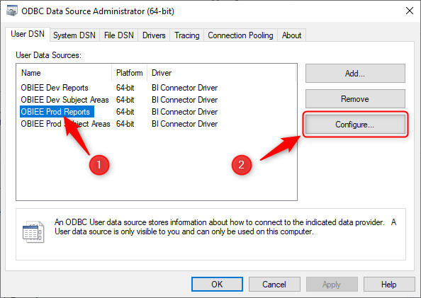 Select DSN and click configure