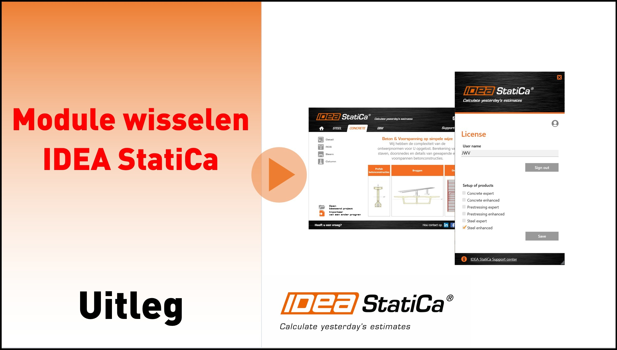 Modules wisselen in IDEA Statica