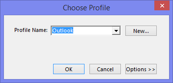Choose Profile dialog box of Outlook.