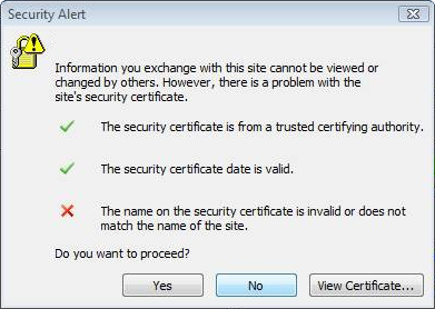 The name of the security certificate is invalid or does not match the name of the site
