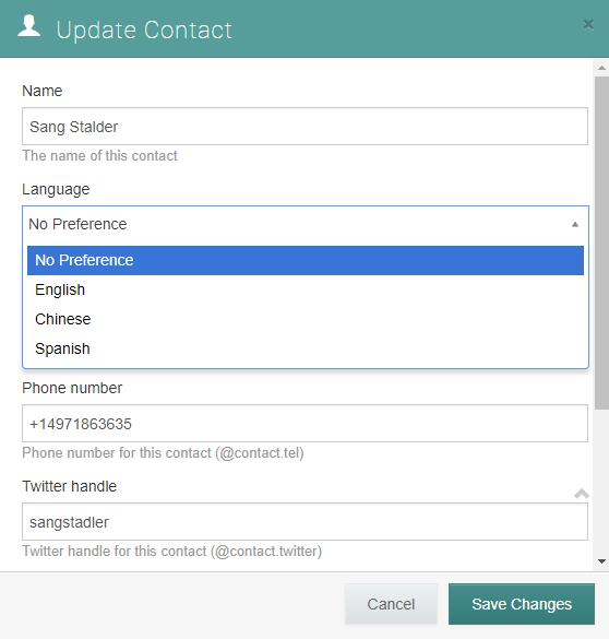 update contact's language