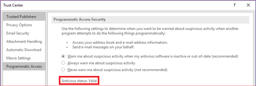 Antivirus status
