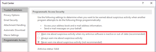 Never warn me about suspicious activity (not recommended)