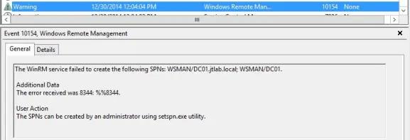 WinRM Service Failed to create the following SPNs