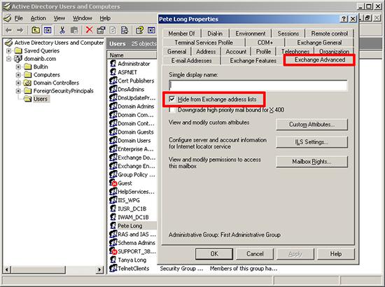 Exchange 2003 Hide From Address List