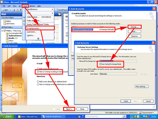 Outlook 2003 Turn Off Cached Mode