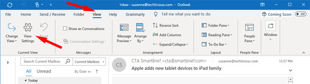 Outlook View tab