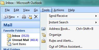 outlook tools menu