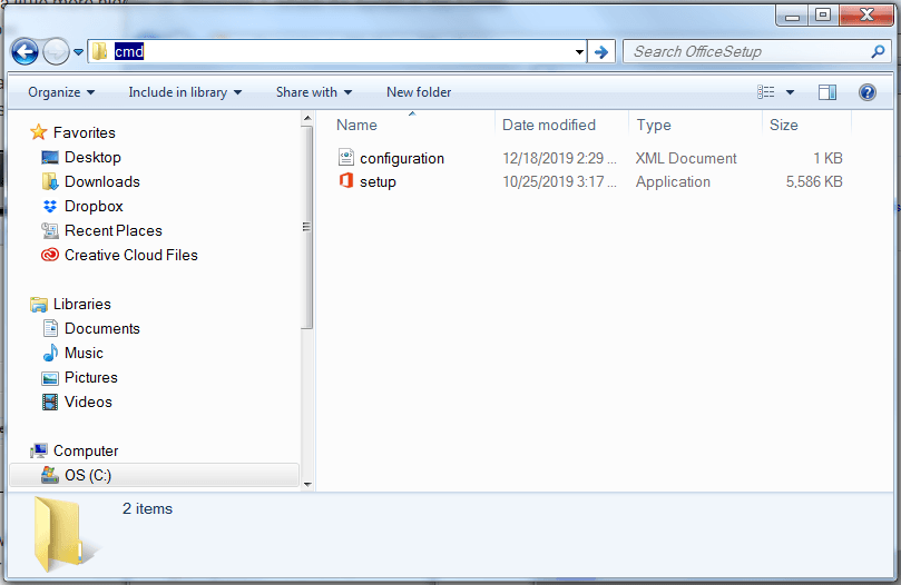 File Explorer window with text entered in address bar