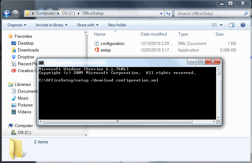 Command prompt window with text entered