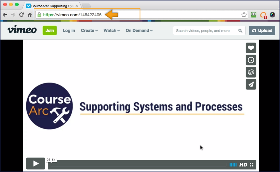 screenshot showing the address bar of a Vimeo video highlighted