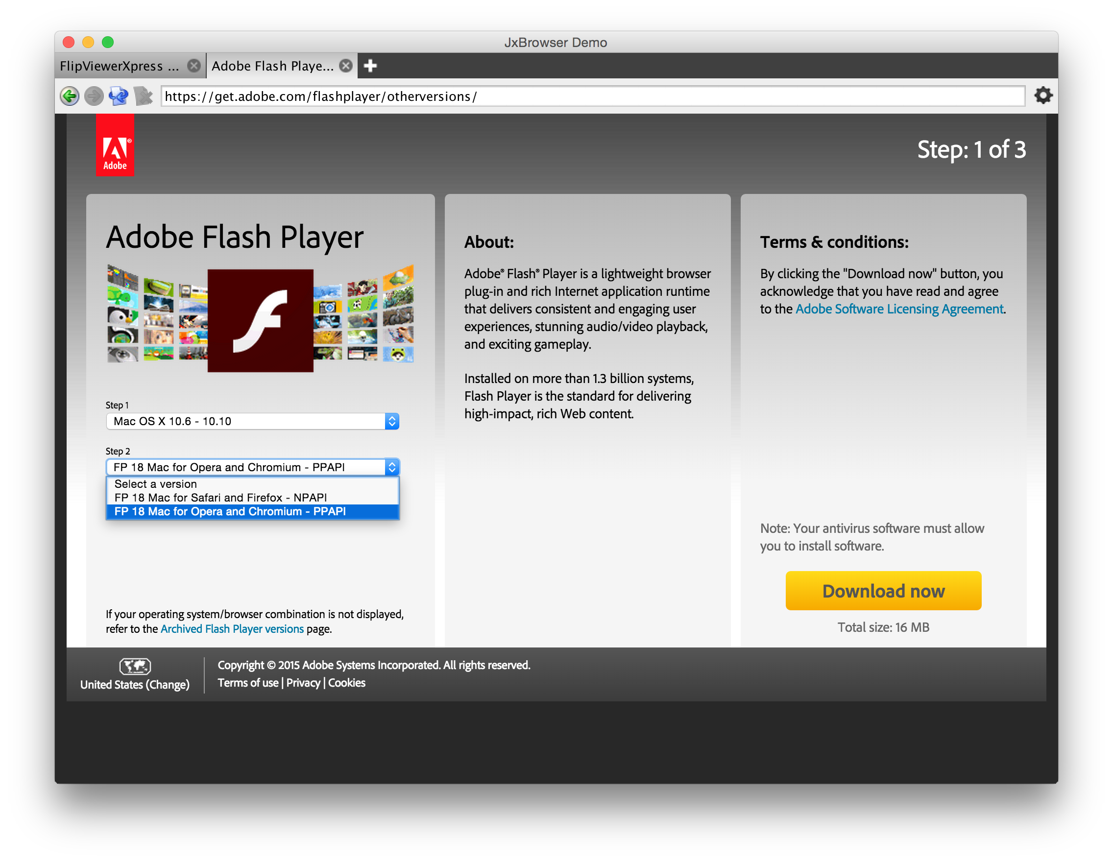 Adobe Flash : JxBrowser