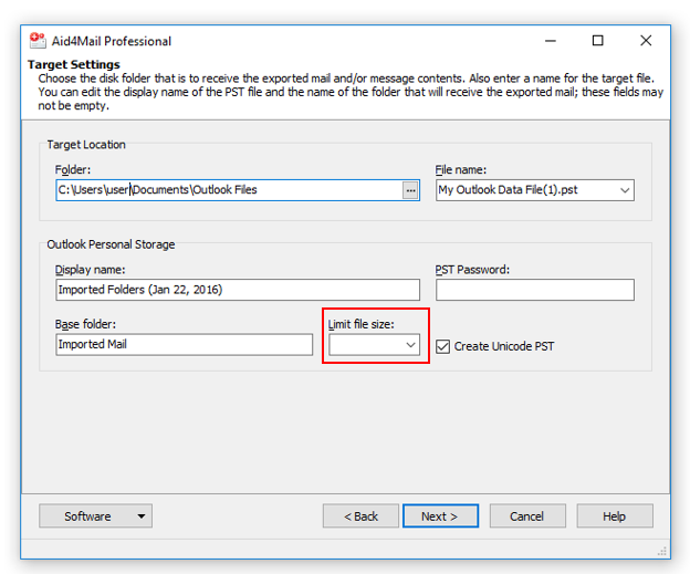 How to split a large PST into smaller PST files in Aid4Mail :