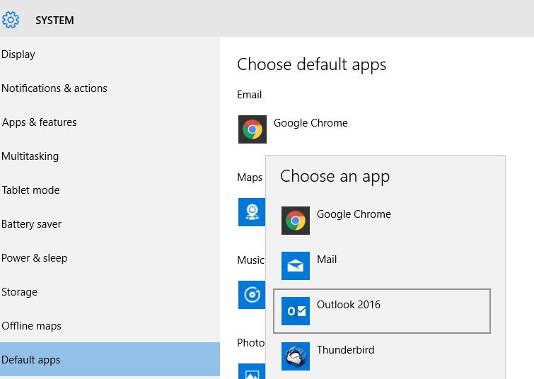 Make outlook default email program windows 10