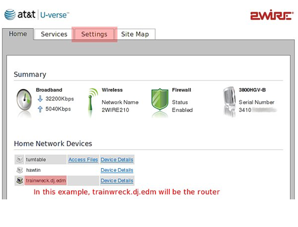 AT&T 2Wire Uverse Modem Routers Settings : Sonictel Support