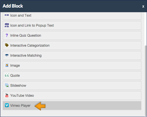 screenshot of the Add Block pane with the Vimeo Player highlighted