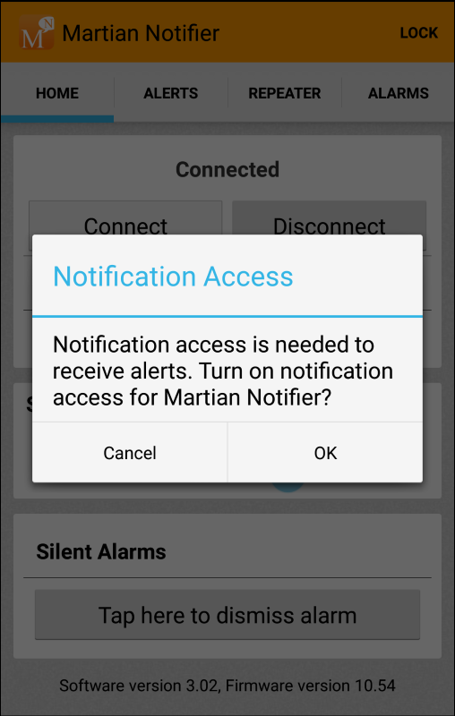 Pair Martian Notifier on Android phone : Martian Support