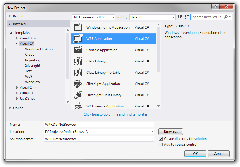 DotNetBrowser – Create WPF Application