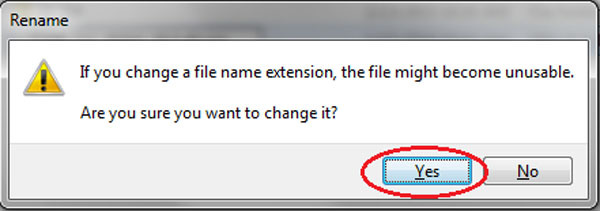 Confirm File Change - Click Yes