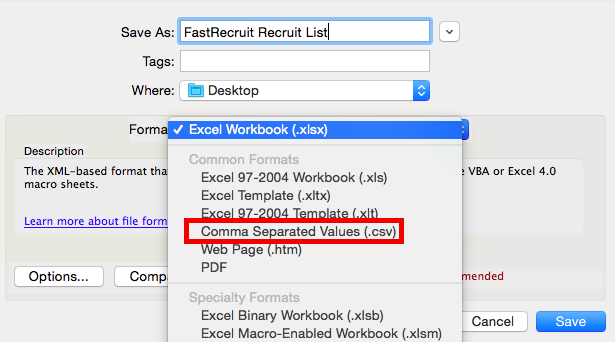 Importing your  CSV Recruiting List in FastRecruit : FastModel Sports