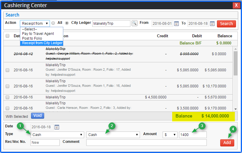 How to add the payment receipt from city ledger against room – Receipt Ledger