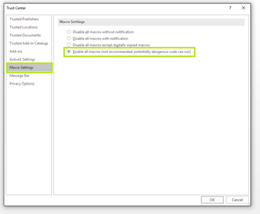 ms access runtime 2010 trusted locations