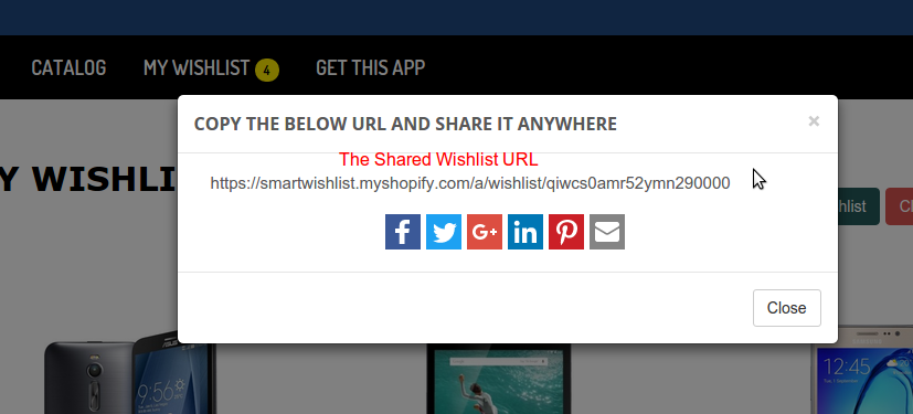 Wishlist Sharing modal
