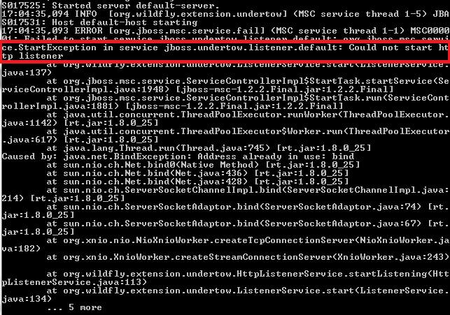 Server Deployment fail : jboss undertow listener default
