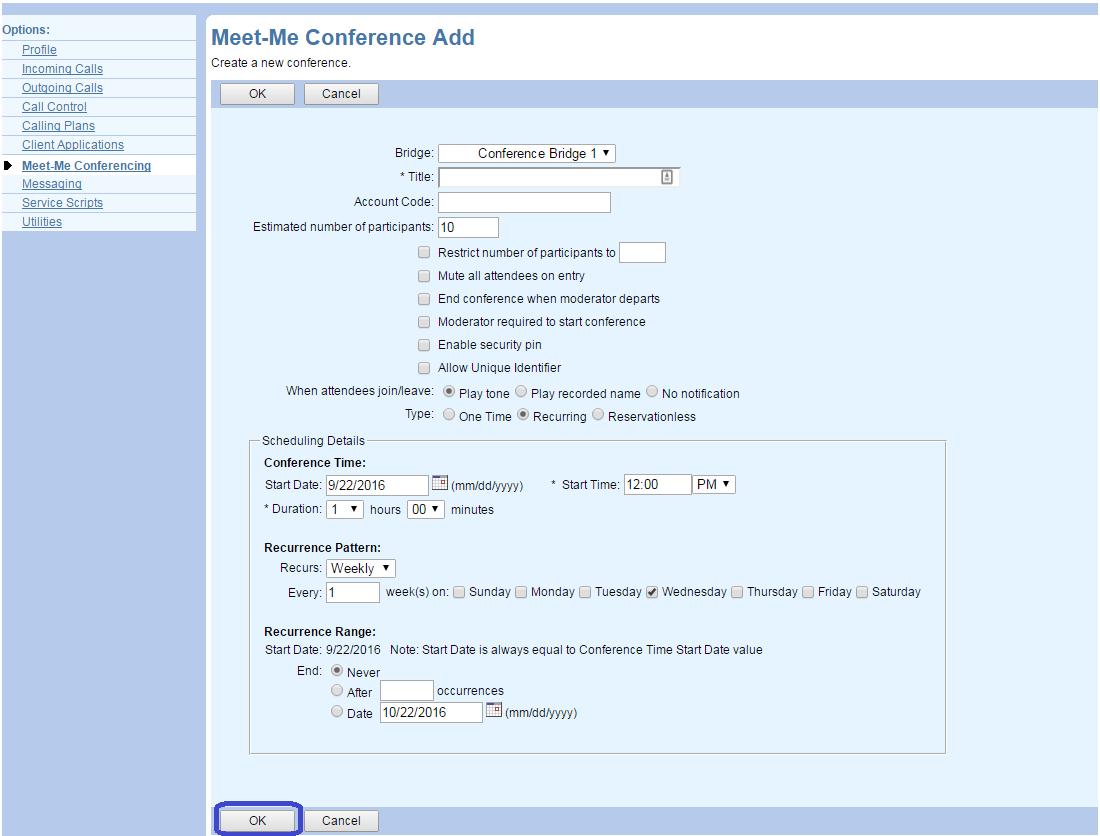 Meet-Me Conferencing : Customer Support Portal