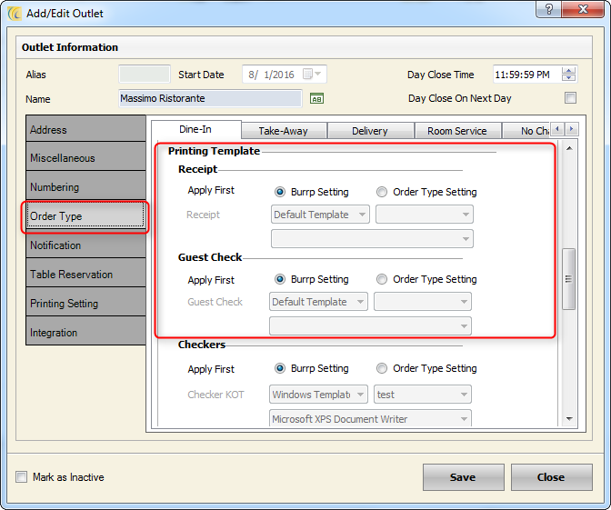 POS printer Settings eZee Technosys Pvt Ltd – Guest Check Template