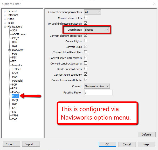 Model positioning and export configurations for Revit and Navisworks