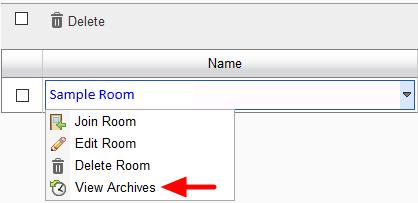 screesnhot of 'view archives' menu