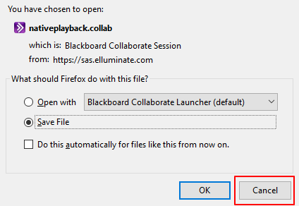 screenshot of download pop up