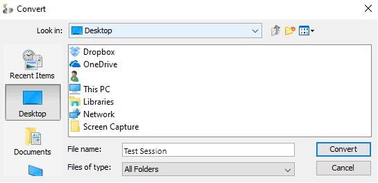 screenshot of computer location dialogue box
