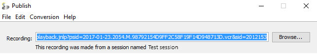 screenshot of session link pasted