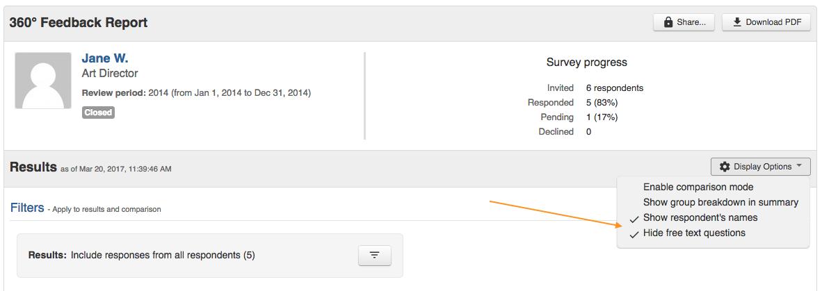 360 feedback report - display options