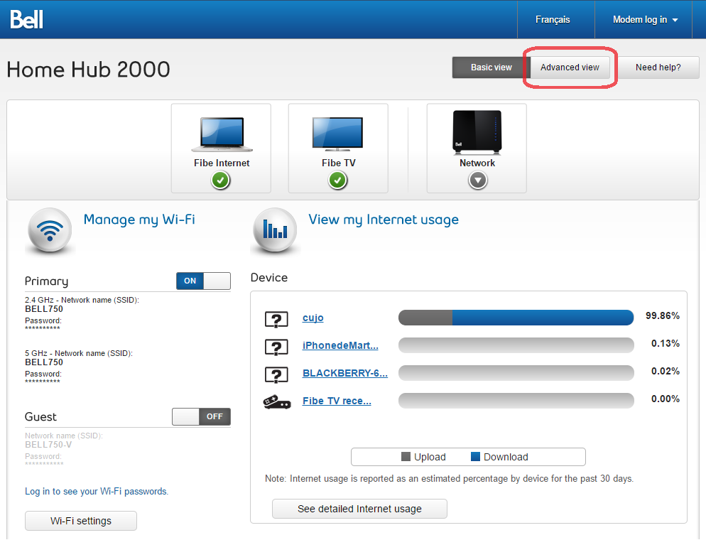 DHCP mode: Bell Home Hub 2000 / Sagemcom 5250 : CUJO LLC