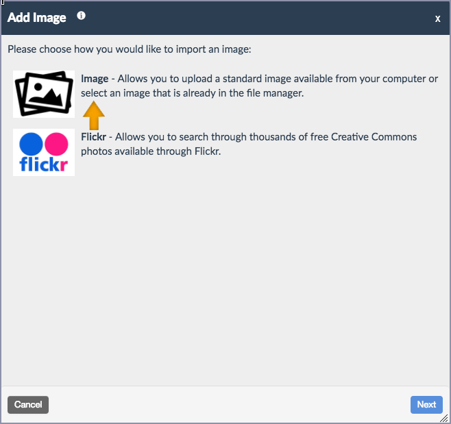 screenshot of Add Image with the image option highlighted