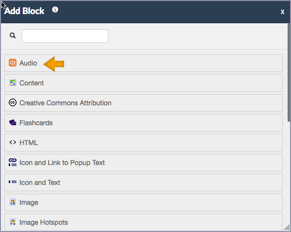 screenshot of the add block form with audio highlighted