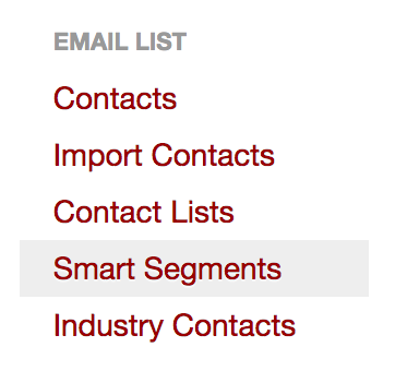 smart segment, Segmenting your Contacts (Creating a Smart Segment)