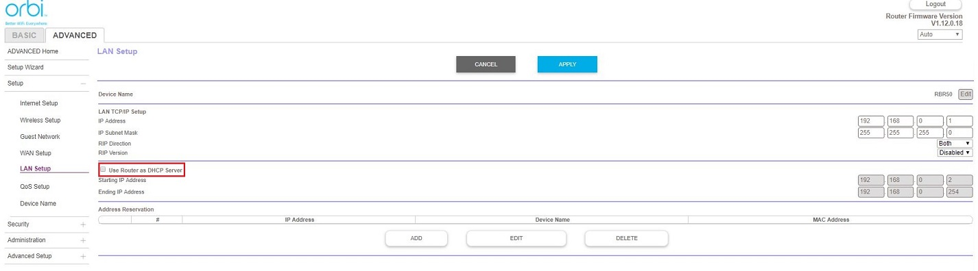 DHCP mode: Netgear Routers Orbi Interface : CUJO LLC