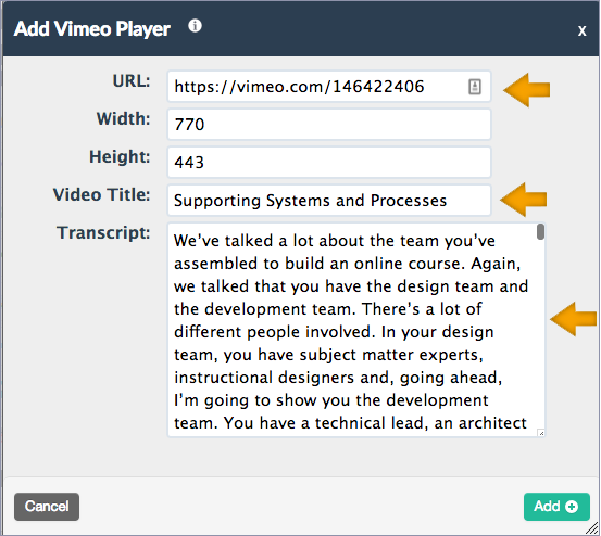 screenshot of the Vimeo Player block with the URL field highlighted