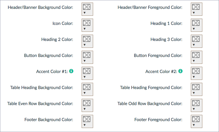 screenshot showing all the types of colors such as Heading 1