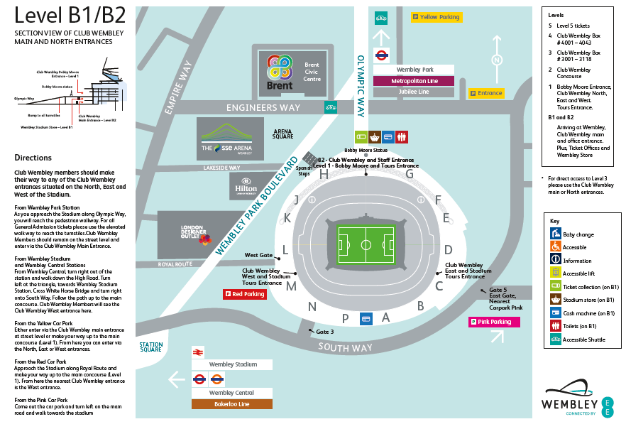 External Stadium Map - Services Available / Entry Points