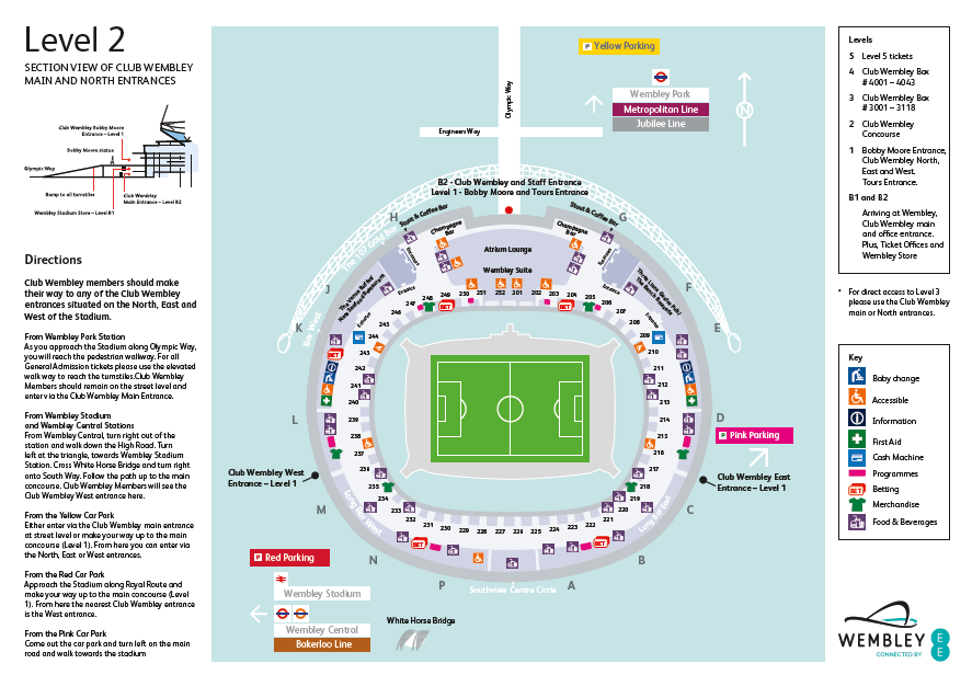 Wembley Seat Map Level 2 Stadium Map (Club Wembley) All seats starting with 2