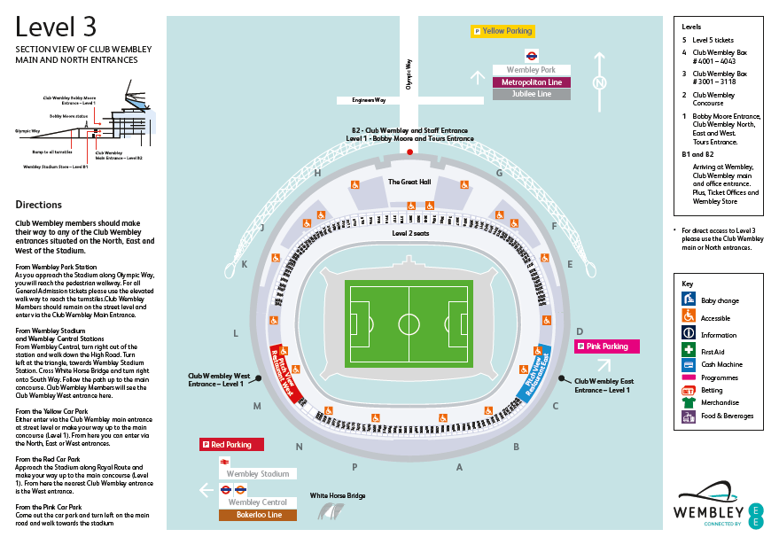 Level 3 Stadium Map Club Wembley All Boxes Starting With
