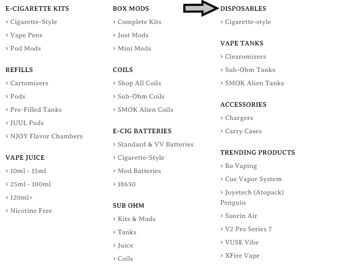 Electric Tobacconist department menu