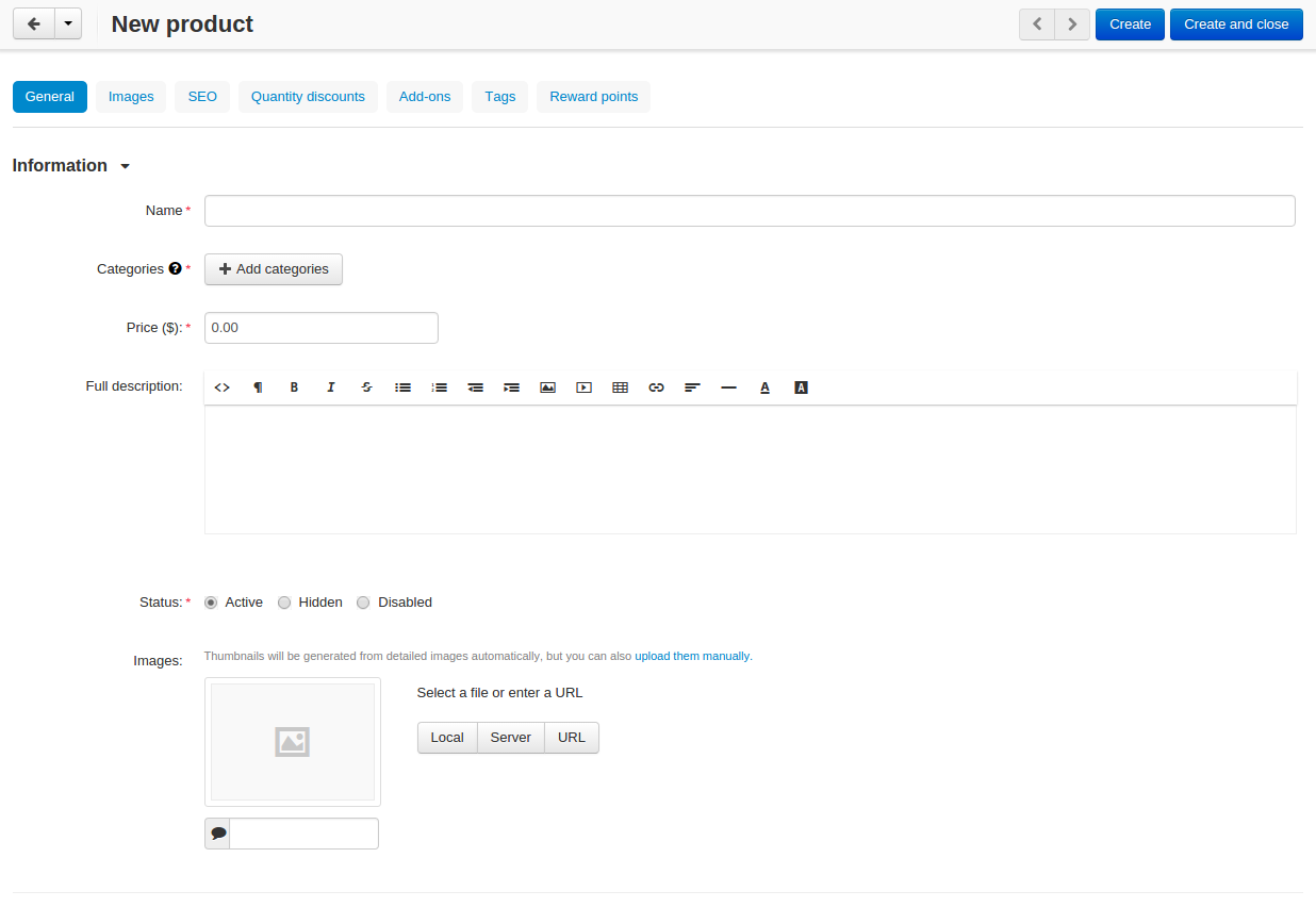 The product creation page in CS-Cart.