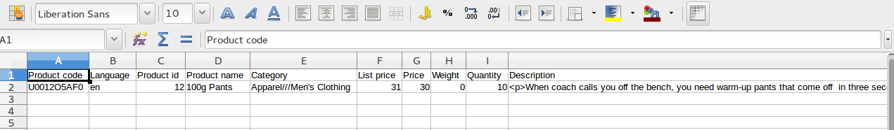 An exported CSV file in the spreadsheet editor.